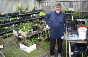 Nozz Fletcher tending the Men's Shed garden